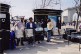 Darlene Roy with a group of drummers