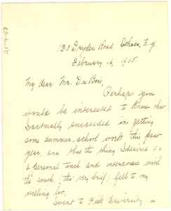 Letter From Jessie Fauset to W. E. B. Du Bois