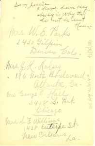 Letter from unidentified correspondent to Jessie Fauset