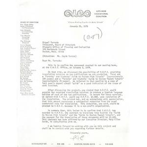 Letter, Miguel Torrado, January 25, 1975