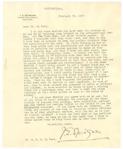 Letter from W.E.B. Du Bois to Joel E. Spingarn