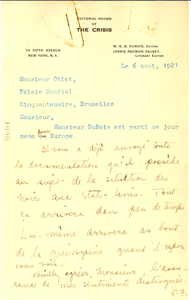 Letter from Jessie Redmon Fauset to Paul Otlet