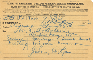 Telegram from Judson W. Lyons to W. E. B. Du Bois