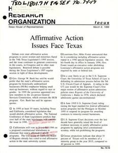 Focus Report, Volume 74, Number 19, March 1996 Focus Report 74th Legislature of Texas Affirmative Action Issues Face Texas