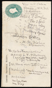 Notes on an envelope by Samuel May, [1893?]