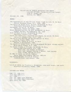 Collection of Du Bois materials and books of Lillian Katzman
