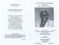 In loving memory of the late Elder Willie J. Harvey, Sr., Saturday, May 6, 1995, 11:00 a.m., Community Freewill Baptist Church, 8715 Herlong Road, Jacksonville, Florida 32210, Elder Henry Harvey, pastor