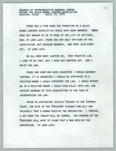 Remarks of Representative Barbara Jordan Before the Black Women Lawyers Association Texas Senate Papers