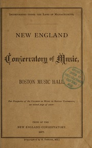 New-England Conservatory of Music, Boston Music Hall., 1877-1879