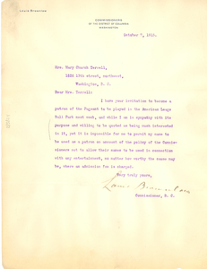Letter from Louis Brownlow to Mary Church Terrell