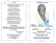 A celebration of life, Mother Louise Kemper, homegoing service, Thursday, May 3rd, 2012- 7:00 p.m., Maranatha Baptist Church, 112-42 Springfield Boulevard, Queens Village, New York 11429, Reverend Anthony W. Kemper, officiating, Reverend A' Kim K. Beecham, pastor