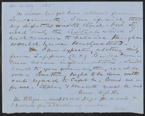 Richard J. Hinton autograph note signed to Thomas Wentworth Higginson, [13 December 1859]