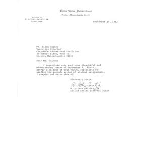 Letter, Judge W. Arthur Garrity, September 14, 1984