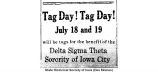 Tag day advertisement, July 11, 1919