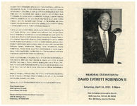 Memorial celebration for David Everett Robinson II, Saturday, April 16, 2011, 2:00 p.m., First Unitarian-Universalist Church, 4605 Cass Ave. Detroit, MI 48201, rev. Bill Neely, interim minister