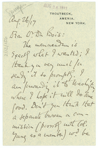 Letter from Joel E. Spingarn to W.E.B. Du Bois
