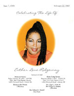 Celebrating the life of Esther Lene Ridgeway, services to be held, memorial service, Friday, February 28, 2003 - 6:00 p.m., Third New Hope Baptist Church, 12850 Plymouth Road - Detroit, MI, bishop Andre Woods, officiating, home going service, Saturday, March 1, 2003 - 10:00 a.m., Third New Hope Baptist Church, 12850 Plymouth Road - Detroit, MI, rev. Edgar L. Vann, Jr., rev. Wilma R. Johnson, officiating, rev. Edward L. Branch, host pastor
