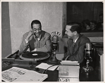 "[Duke Ellington giving a radio interview, ""1950; International Dairy Exp. Louis Zekiel"" [Black-and-white photoprint.]"