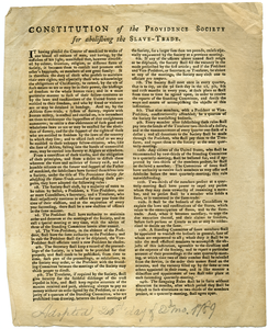 Constitution of the Providence Society for Abolishing the Slave-Trade