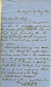 Letter from Benjamin Smith Lyman to Mr. Lesley