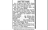 """""""Iowa City notes: Rev. D. Boone of Fort Worth, Texas,"""" December 19, 1919"""