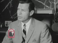 WSB-TV newsfilm clip of Georgia governor Carl Sanders speaking about public safety and voter registration in Americus from his office in Atlanta, Georgia, 1965 August 4