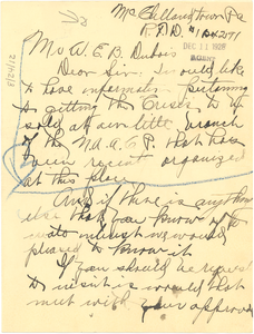 Letter from Albert Stowe to W. E. B. Du Bois