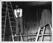 """John O'Neal in """"You Can't Judge a Book By Looking at the Cover: Sayings from the Life and Writings of Junebug Jabbo Jones,"""" by John O'Neal and Barbara Watkins, 7 Stages Theatre, Atlanta, Georgia, January 17 - 20, 1985"""