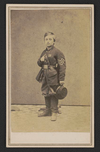 [Sergeant John Lincoln Clem of Co. C, 22nd Michigan Infantry Regiment in uniform]
