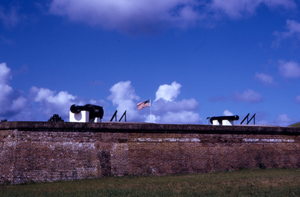 Cannons on top of Fort wall, Fort Moultrie, South Carolina