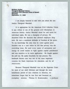 Barbara Jordan, Thurgood Marshall Tribute, American Civil Liberties Union of Hawaii Texas Senate Papers