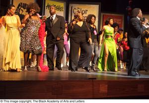 [Curtis King and Erykah Badu on Stage with Performers] Hip Hop Broadway: The Musical