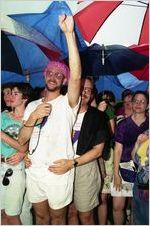 Gay couples at a gay-lesbian commitment ceremony in Piedmont Park, Atlanta, Georgia, June 22, 1991