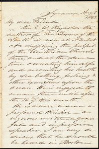 Letter from Samuel Joseph May, Syracyse, [N.Y.], to William Lloyd Garrison, Aug[ust] 5 1863