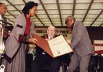 Kenneth Hahn and Yvonne Brathwaite Burke Present Scroll to Ray Charles