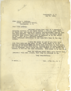 Letter from James C. Waters Jr. to Julia C. Lathrop