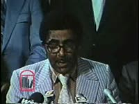 WSB-TV newsfilm clip of civil rights leaders Joseph Lowery, and J.D. Grier with Police chief John Inman as he announces efforts to recruit more African American policemen, Atlanta, Georgia, 1973 June 29