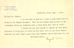 Letter from George A. Gates to W. E. B. Du Bois