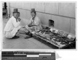 Korean comb merchant and a friend, Korea, ca. 1920-1940