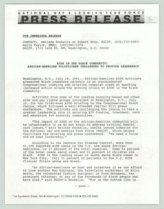 [Press Release: AIDS in the Black Community] National Gay and Lesbian Task Force (NGLTF), 1990-1991