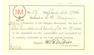 Niagara Movement Receipt No. 17