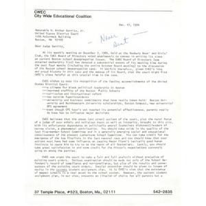Letter, Judge Garrity, December 11, 1984 - Umbra Search African