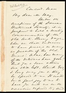Letter from Alfred Porter Putnam, Concord, Mass., to Samuel May, [March?, 1893]