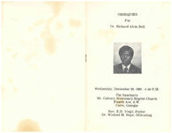 Obsequies for Dr. Richard Alvin Bell, Wednesday, December 29, 1982- 4:00 p.m., the sanctuary, Mt. Calvary Missionary Baptist Church, Fourth Ave. S.W. Cairo, Georgia, Rev. E.D. Virgil, pastor, Dr. Winfred M. Hope, officiating
