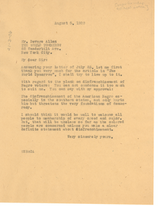 Letter from W. E. B. Du Bois to Devere Allen
