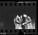 """Run-DMC's Joseph """"Run"""" Simmons and Darryl """"D.M.C."""" McDaniels performing in Long Beach, Calif., 1984"""