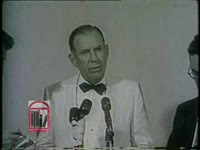 """WSB-TV newsfilm clip of Georgia governor Marvin Griffin pledging to maintain segregated schools in Georgia and condemning the presence of federal troops enforcing integration by the """"Little Rock Nine"""" at Central High School in Little Rock, Arkansas from a conference held in Sea Island, Georgia, 1957 September 23"""