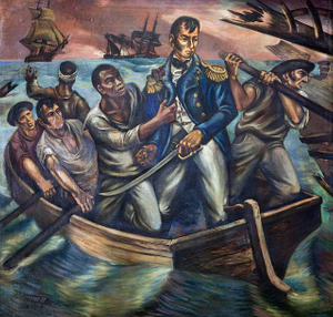 """Cyrus Tiffany in the Battle of Lake Erie, September 13, 1813,"" mural by Martyl Schweig, at the Recorder of Deeds building, built in 1943. 515 D St., NW, Washington, D.C."