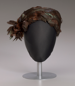 Brown feathered pillbox hat from Mae's Millinery Shop