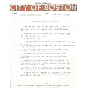 Statement of Mayor Kevin H. White